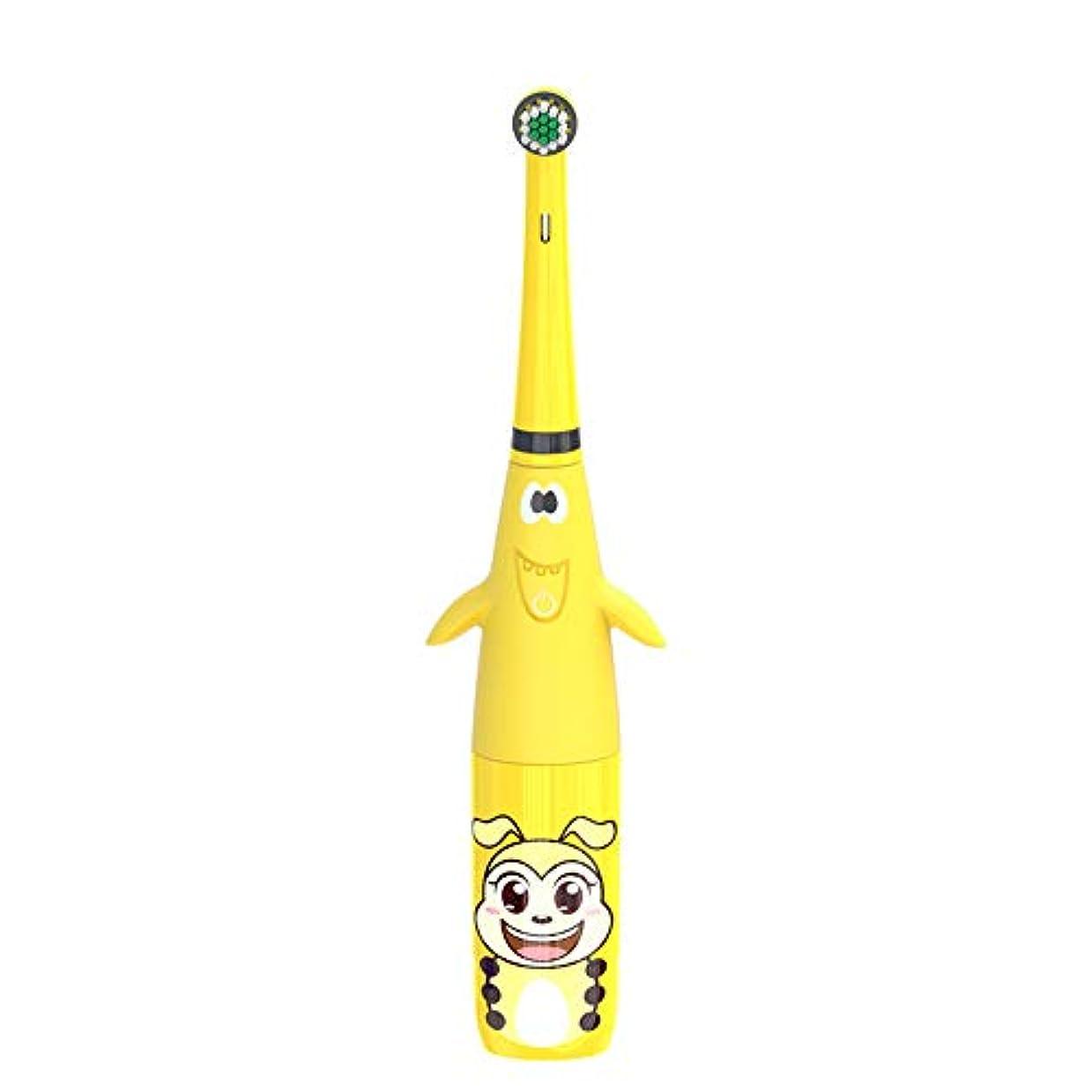ラテン浅い回答(子供電子歯ブラシ、青、ピンク、黄色)歯垢除去および歯のホワイトニングのための交換用ブラシヘッドを持つ子供の電動歯ブラシ