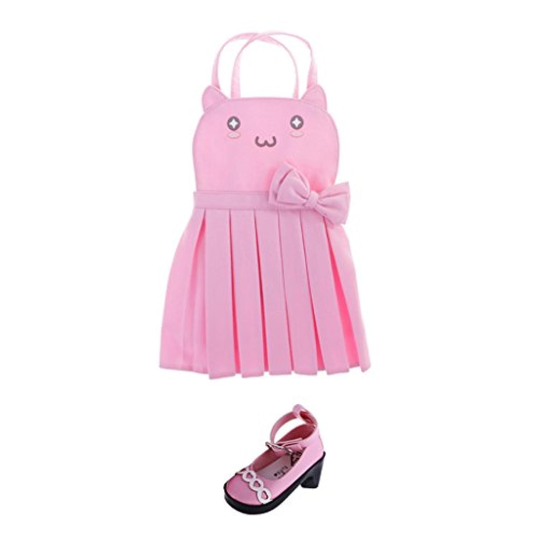 Baoblaze かわいい 猫の顔 ショルダーストラップ ワンピース スカート PU製靴 洋服セット 1/3 BJD人形のため スーツ