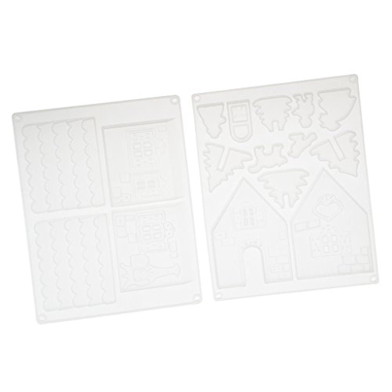 Fityle ハウス ジグソーパズル DIY樹脂鋳造工芸品  シリコンモールド 工作ツール 再利用可能 シリコーン金型 全2種類 - トランスペアレント, 22×16cm