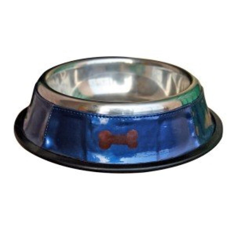 北へスペア見つけた犬の食器【Blue Bowl with Brown Bones】
