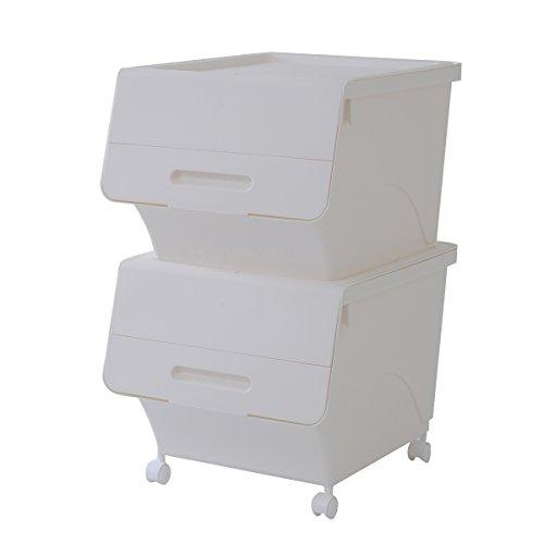 RoomClip商品情報 - 山善(YAMAZEN) オープンボックス フタ付き収納ボックス 2個組 深型 キャスター付き ホワイト