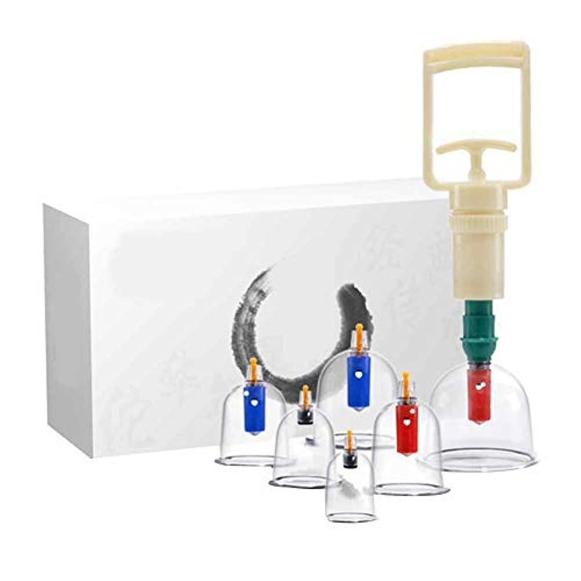 化合物要件バターカッピングセラピーセット、プレミアム透明プラスチック製中国式ツボカッピングセラピーセット、ポータブルパッケージ、筋肉痛の軽減に最適(6カップ)