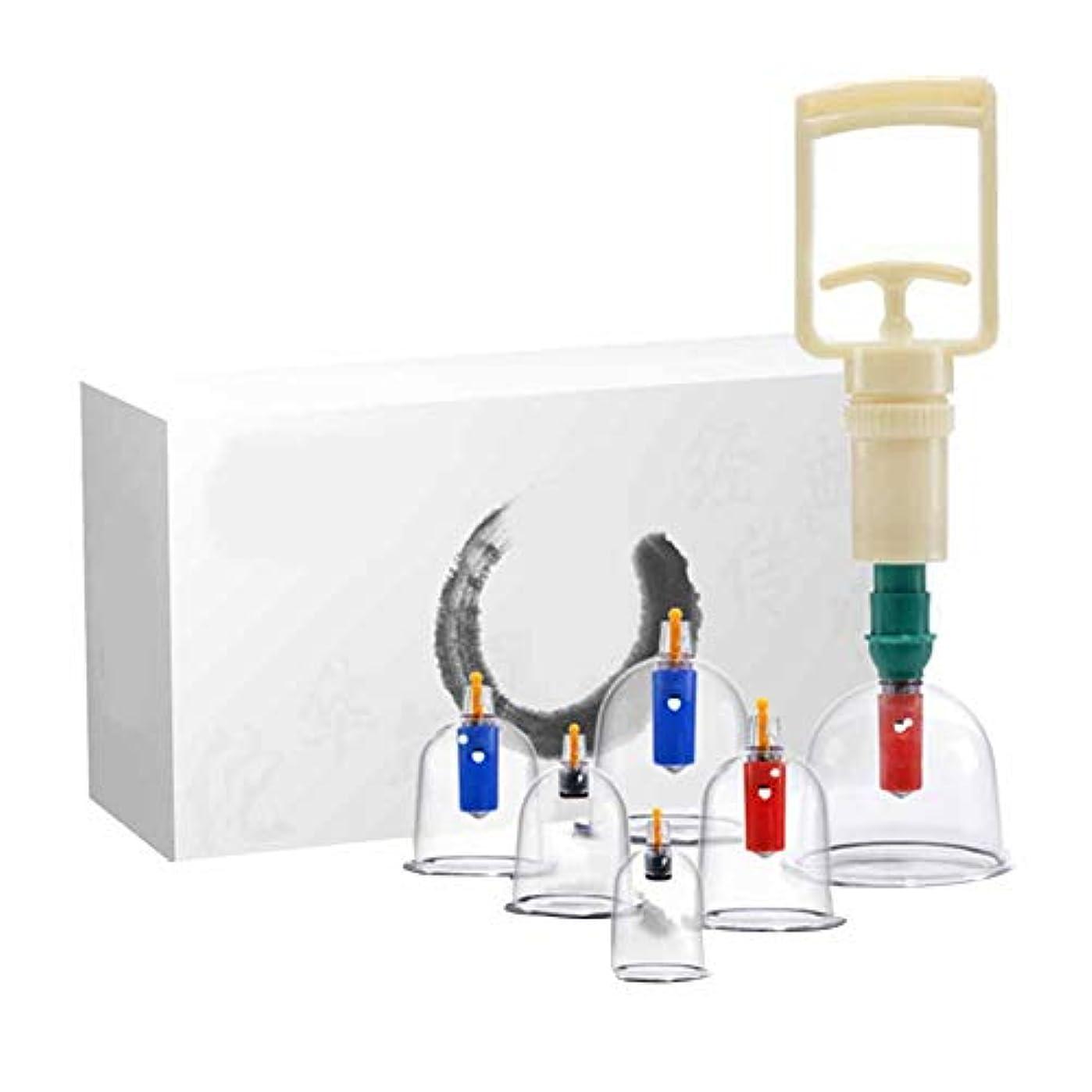 出身地ローラー既にカッピングセラピーセット、プレミアム透明プラスチック製中国式ツボカッピングセラピーセット、ポータブルパッケージ、筋肉痛の軽減に最適(6カップ)