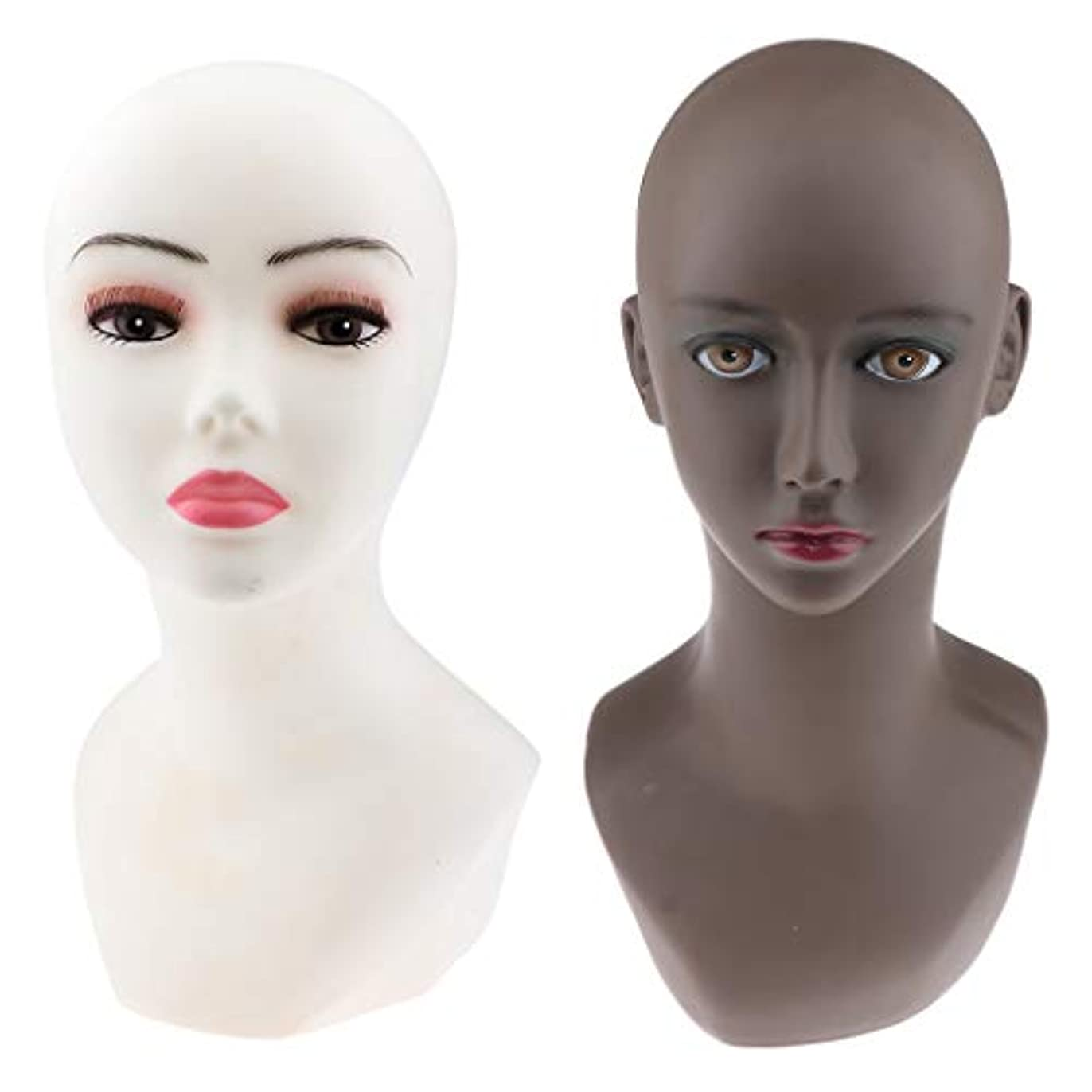 離婚器用クマノミT TOOYFUL 2個セット マネキンヘッド 女性 ヘッドモデル PVC製 かつら作成 美容 化粧練習 洋服店 美容院