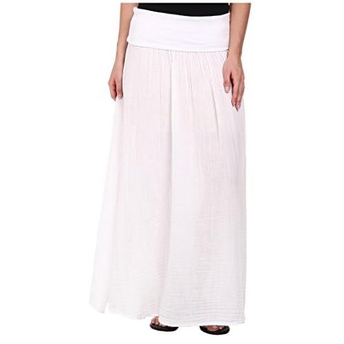 [スリードッツ] Three Dots レディース Maxi Skirt w/ Side Slit スカート White SM (US 4-6) [並行輸入品]