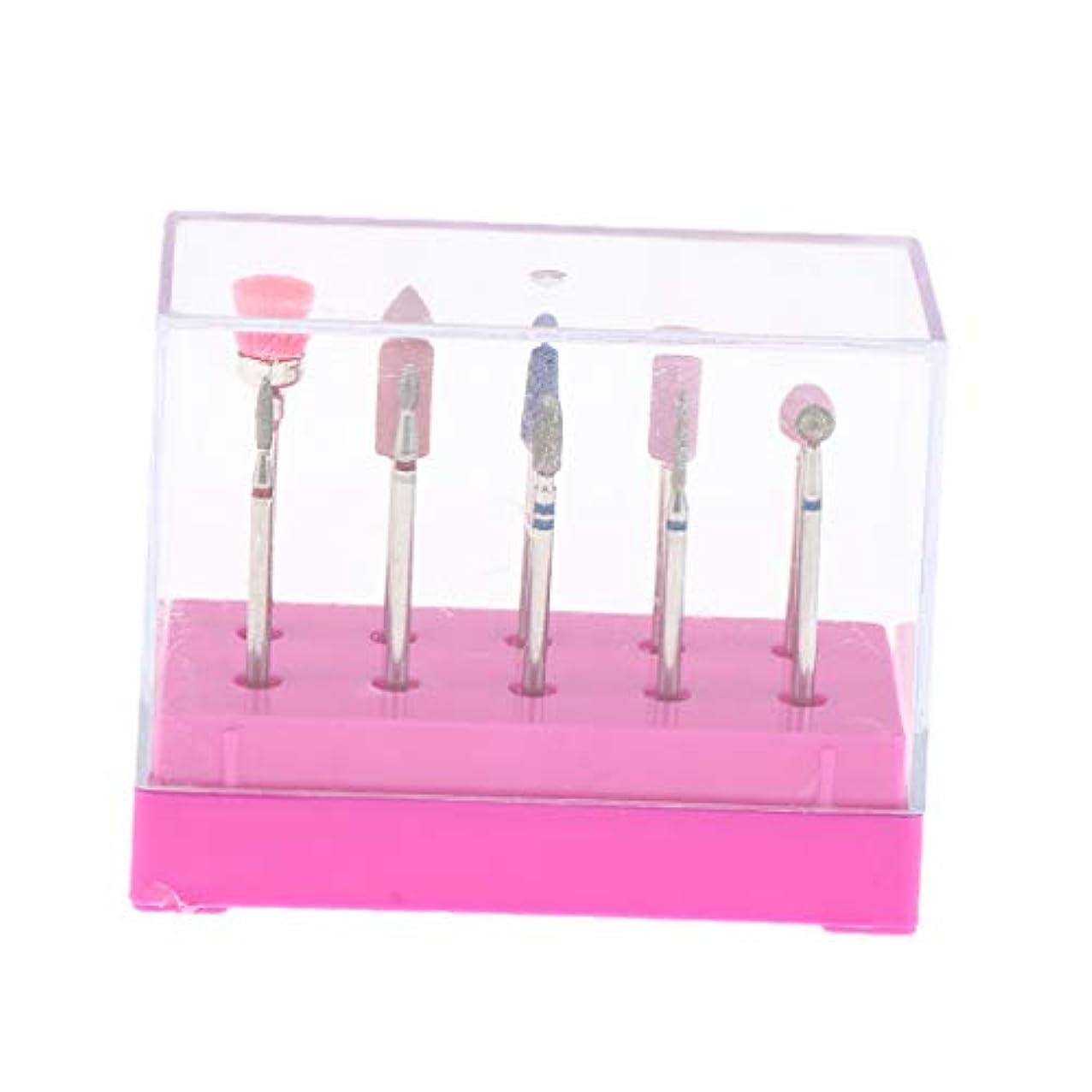 組み合わせネックレス筋肉の10本セット ネイルアートビット 電気ネイルドリルビット ネイル道具 ボックス付き - ピンク
