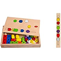 QXMEI 子供のおもちゃ 子供のビルディングブロック 子供のパズル 知育ブロック ビーズ玩具 製品サイズ: 11.8インチ 2インチ 7.3インチ
