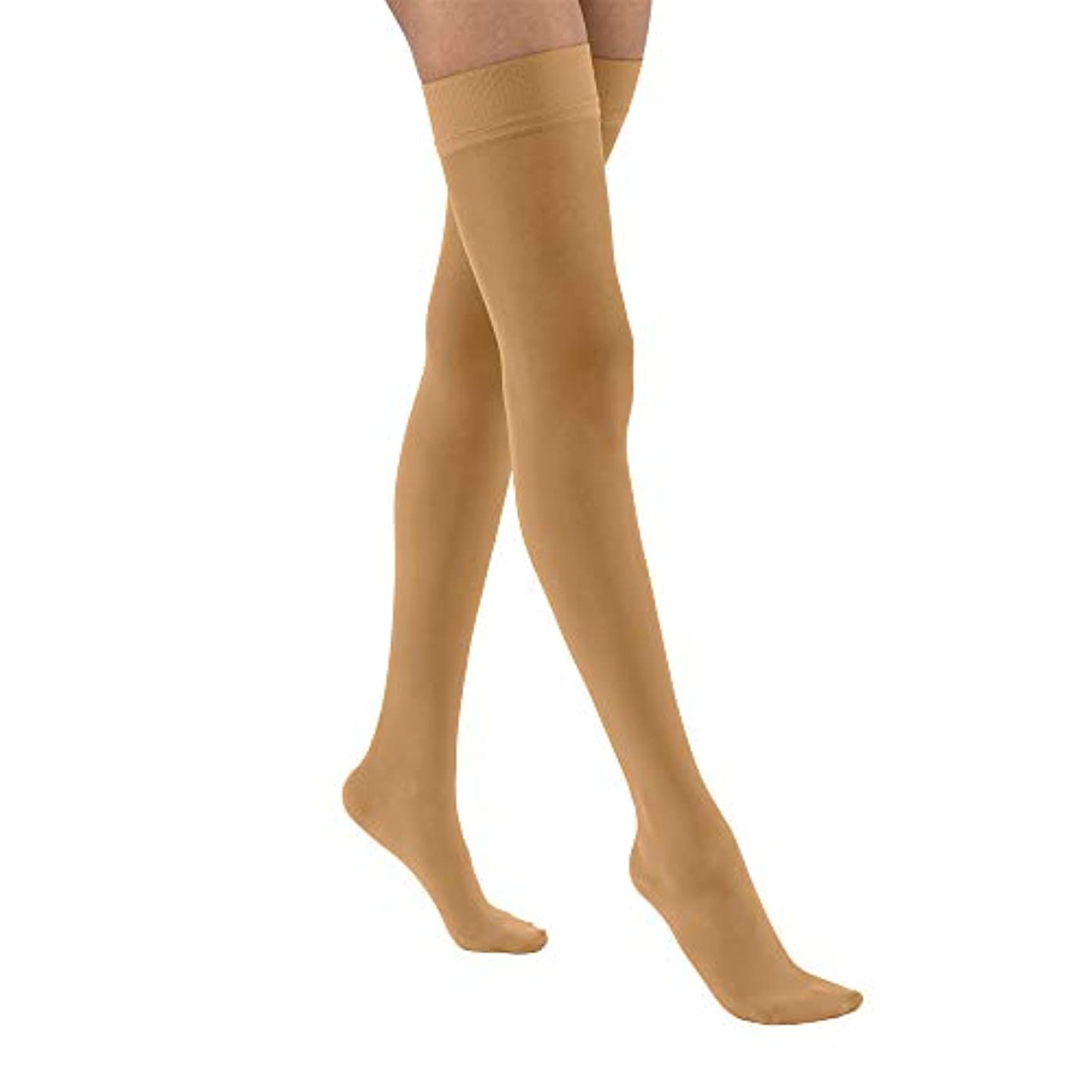 干渉形愛情深いJobst 122320 Ultrasheer Thigh Highs 20-30 mmHg Firm with Silicone Dot Top Band - Size & Color- Suntan Small