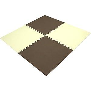 抗菌ジョイントマット mio 60cm 32枚組 6畳用 フチ付 ブラウン 80557