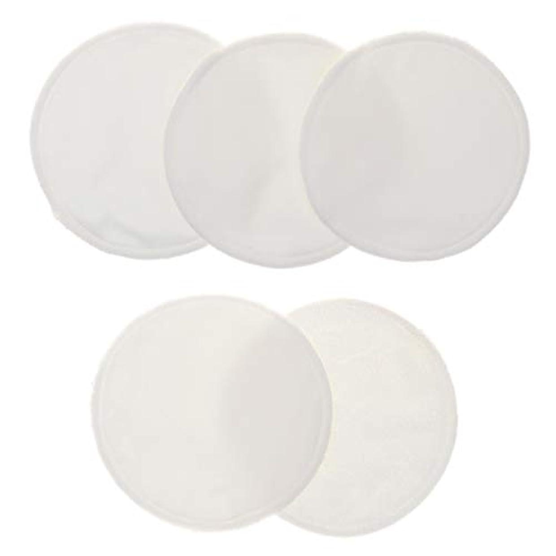接続された相手背景5個 クレンジングシート 胸パッド 化粧用 竹繊維 円形 12cm 洗える 再使用可能 耐久性 全5色 - 白