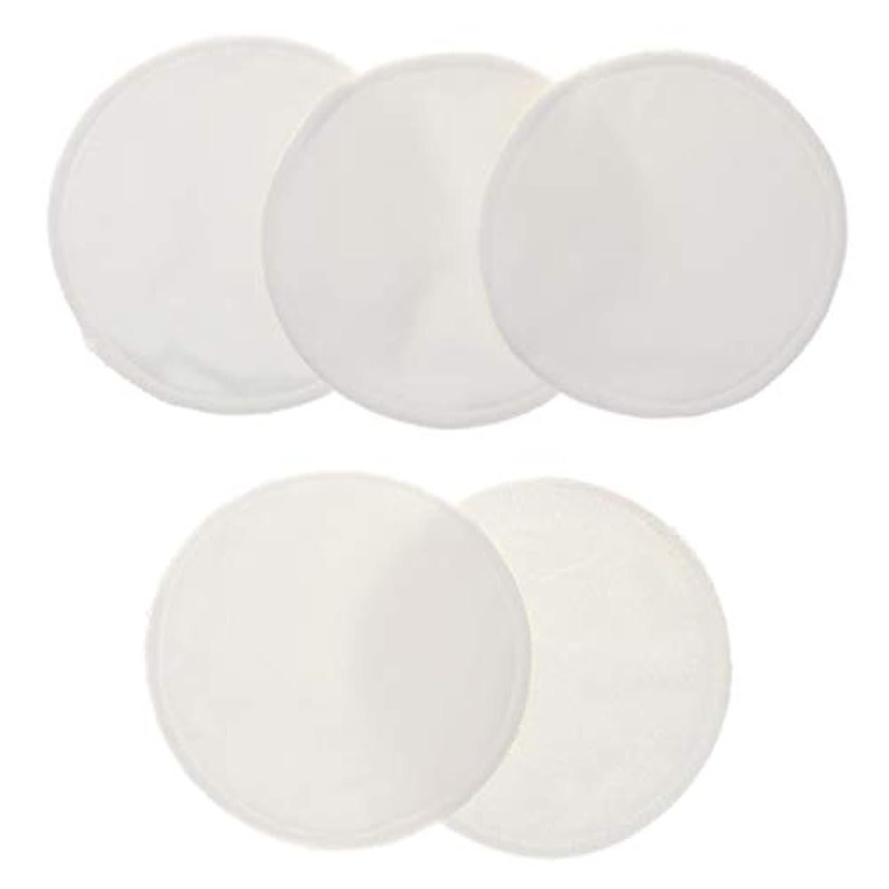 有効なおんどりしょっぱい5個 クレンジングシート 胸パッド 化粧用 竹繊維 円形 12cm 洗える 再使用可能 耐久性 全5色 - 白