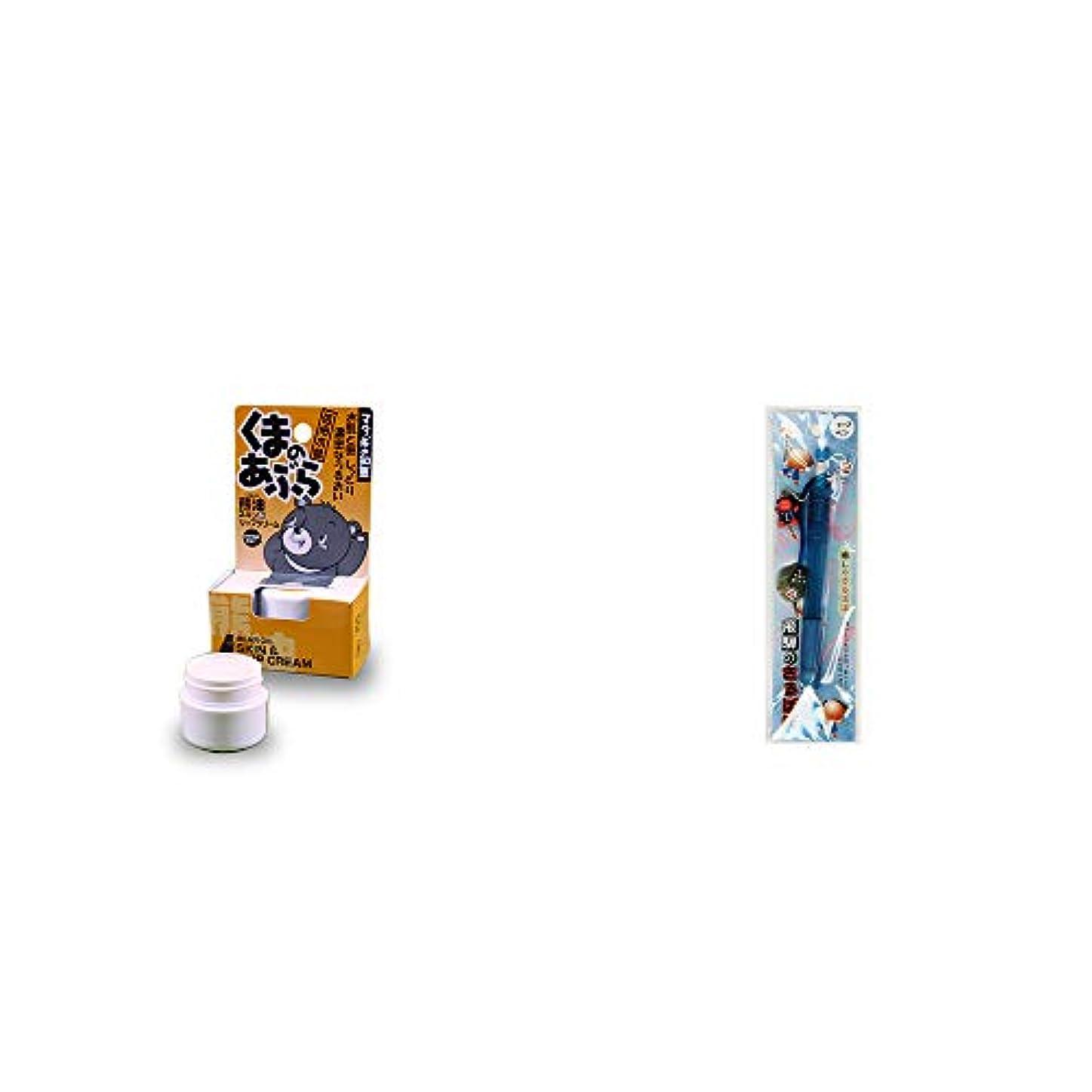 未知の狂う変装した[2点セット] 信州木曽 くまのあぶら 熊油スキン&リップクリーム(9g)?さるぼぼ 癒しシャープペン 【ブルー】