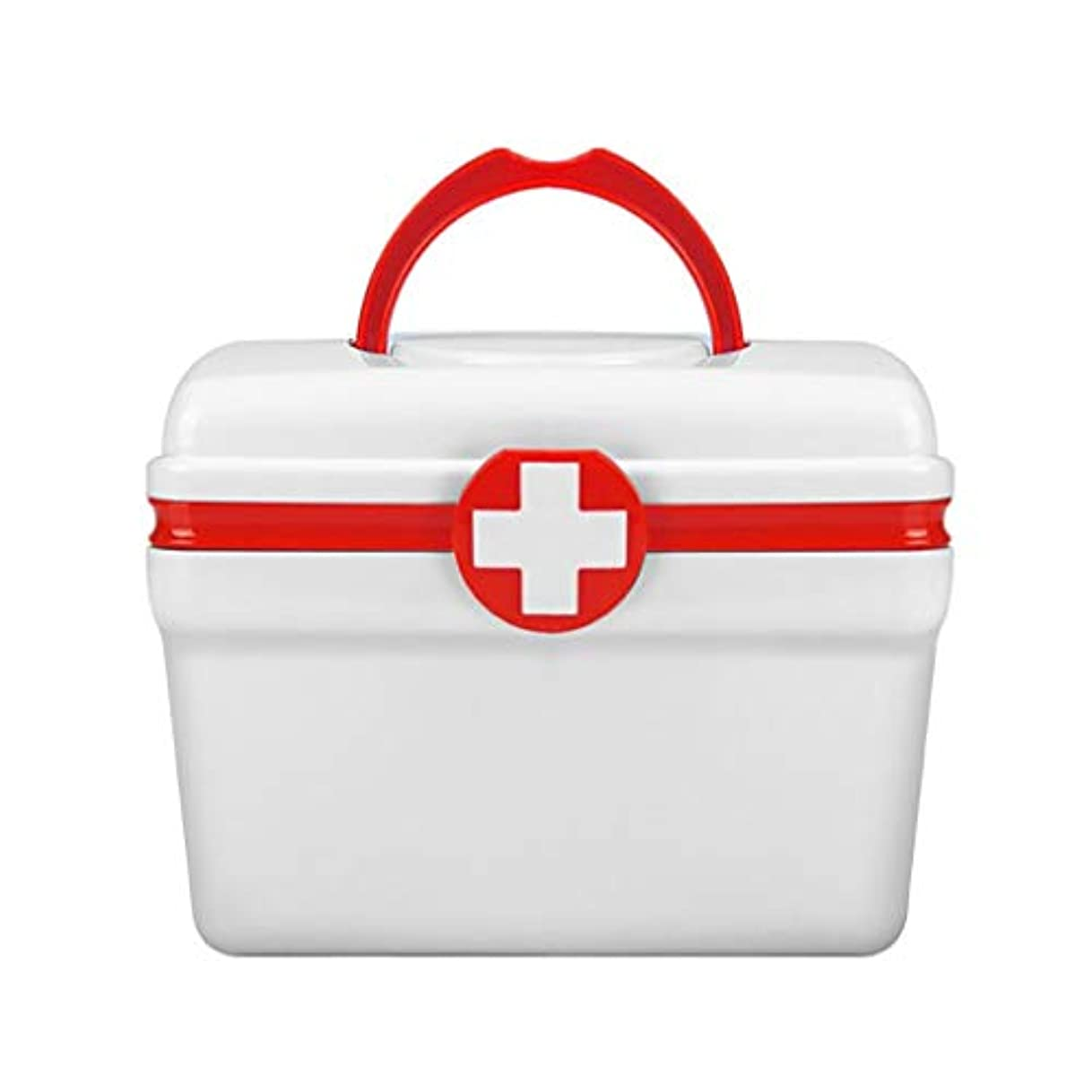 借りる舌大いに応急処置キットボックスケース、救急薬収納ボックス2層プラスチック応急処置コンテナー家族薬ホルダーキャビネット家庭用医療ボックス-2サイズ