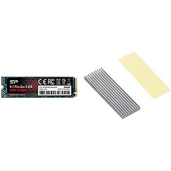 シリコンパワー SSD 256GB 3D NAND M.2 2280 PCIe3.0×4 NVMe1.3 P34A80シリーズ 5年保証 SP256GBP34A80M28 & アイネックス AINEX M.2 SSD用ヒートシンク HM-21