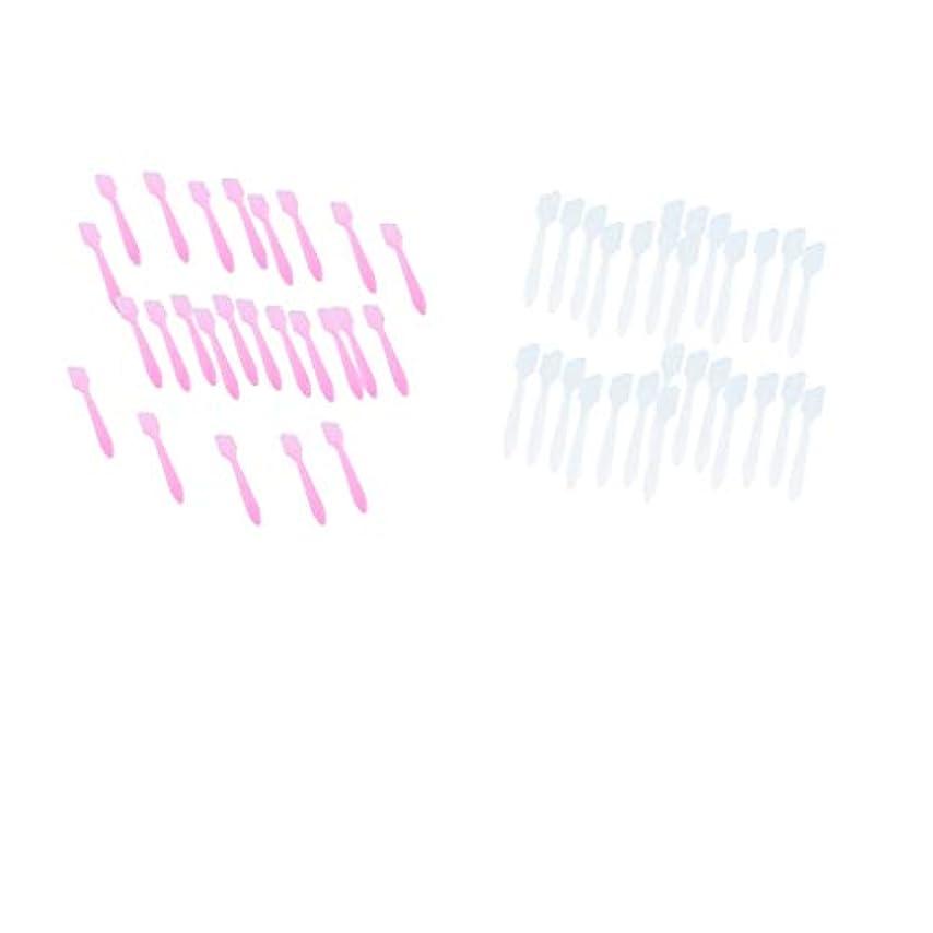 そばに計画的美人P Prettyia 約200個 クリーム フェイスマスクスプーン 化粧品混合ヘラ 女性 美容ツール 全2選択 - 白+ピンク