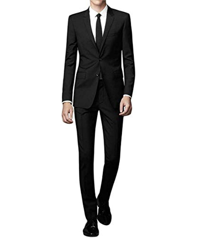 YFFUSHI スーツ メンス 上下セット 二つボタン XS-2XL 黒 紺 灰色 通勤 通学 着心地抜群 通気性 カジュアル スリム 高品質 ファッション