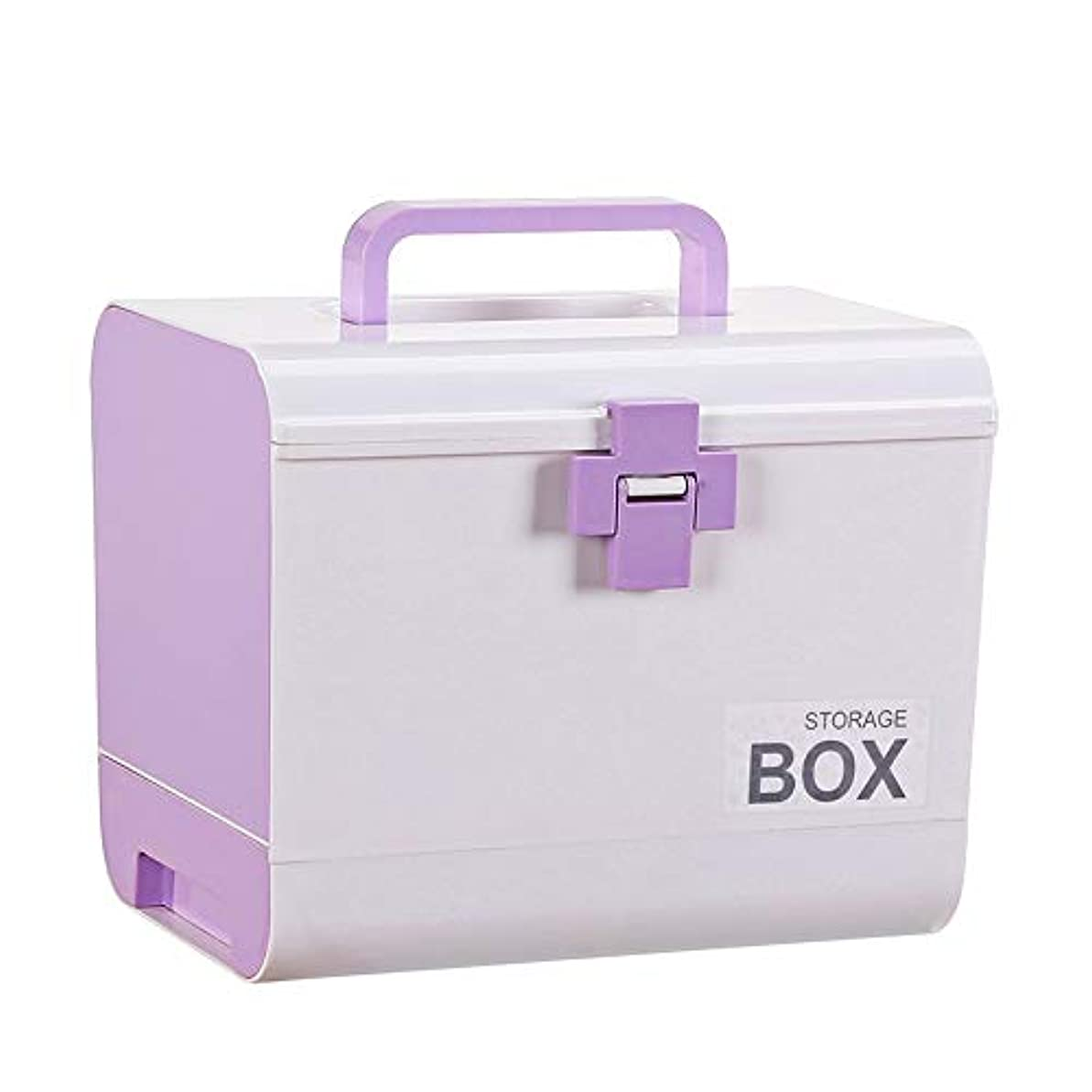 QD-SGMP 救急箱 薬箱 ドラッグケース 応急ボックス 家庭用 車用 収納ケース ツールボックス 薬入れ 小物入れ 収納化粧 多機能収納ケース 引き出し付き 大容量 耐荷重5.7KG(パープル)