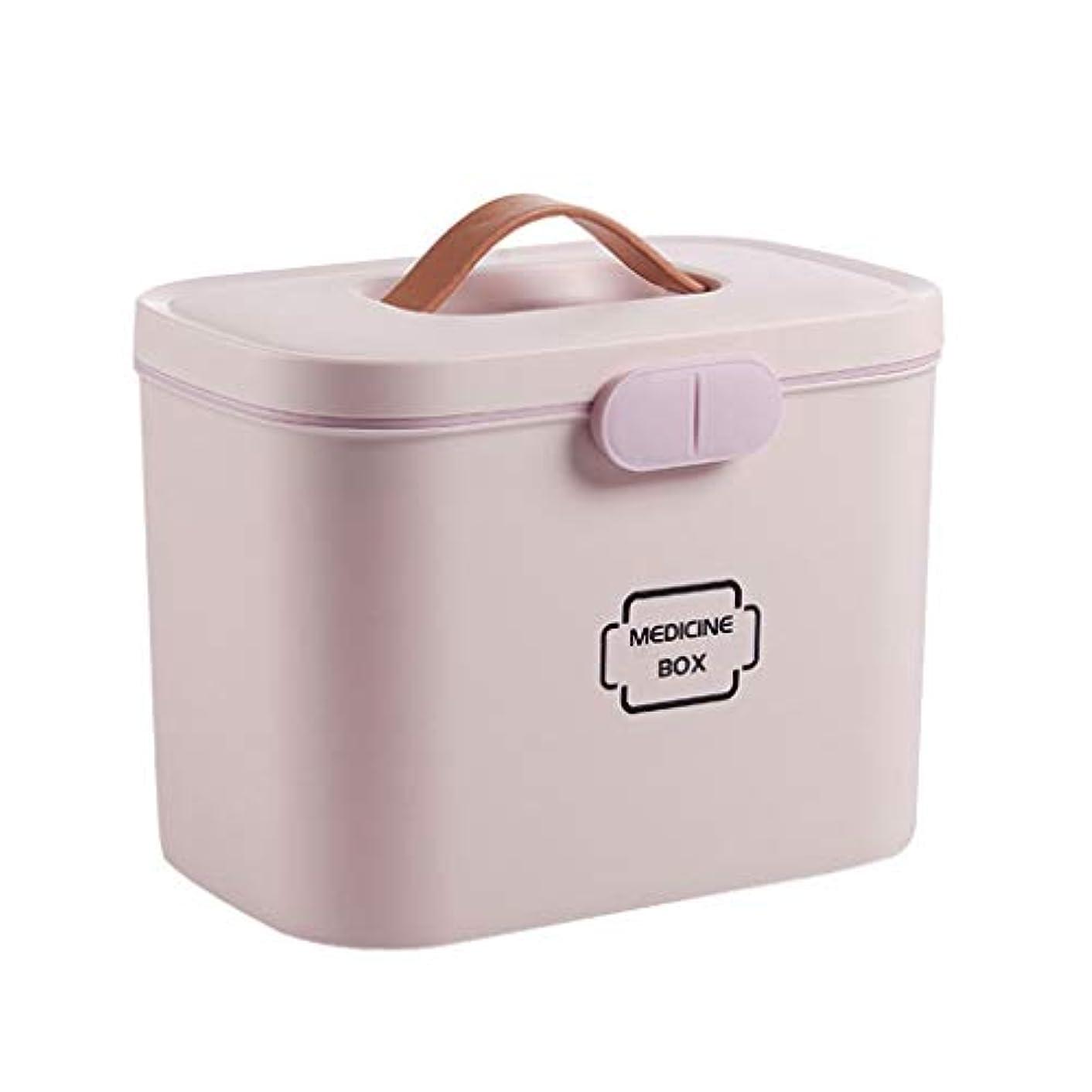 誠意暫定ぜいたくポータブル薬箱家庭用収納ボックス多層大容量小さな薬箱救急箱 HUXIUPING (Color : Pink)