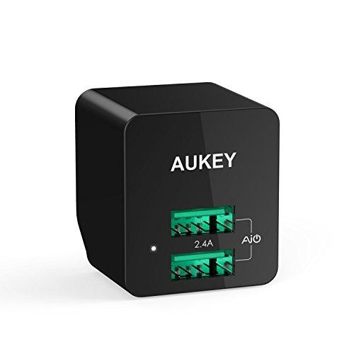 AUKEY USB充電器 2ポート 超小型 折りたたみ式 急速充電器 ACアダプター AiPower機能搭載 iPhone6s / 6s Plus / iPhone6 / 6 plus / iPhone5C / 5S / 5 / iPod / iPad / iPad Air / Xperia / GALAXY / ゲーム機等対応 (ブラック)PA-U32