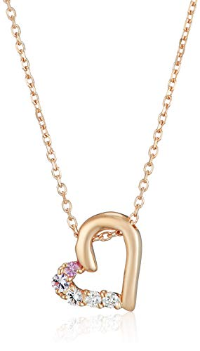 オープンハート ピンクサファイヤ×ダイヤモンドK10ピンクゴールド(PG)ネックレス 110746123117 ヨンドシィ
