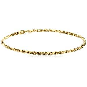[アマゾンコレクション] Amazon Collection ゴールドメッキ スターリングシルバー ダイヤモンドカット ロープチェーン アンクレット