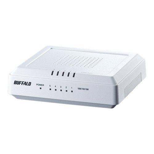 BUFFALO Giga対応 プラスチック筺体 AC電源 5ポート ホワイト スイッチングハブ LSW3-GT-5EP/WH