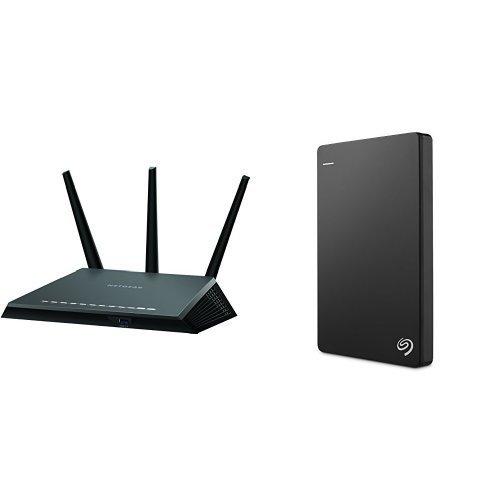 NETGEAR Nighthawk AC1900 Dual Band Wi-Fi Gigabit Router (R7000) and Seagate Backup Plus Slim 1TB Portable External Hard Drive with 200GB of Cloud Storage  Mobile Device Backup USB 3.0 (STDR1000100) - Black [並行輸入品]