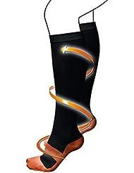 快適な男性女性ファッション短いストレッチ圧縮靴下膝ソックスサポートストレッチ通気性ソックス - ホワイト&ブルーS/M