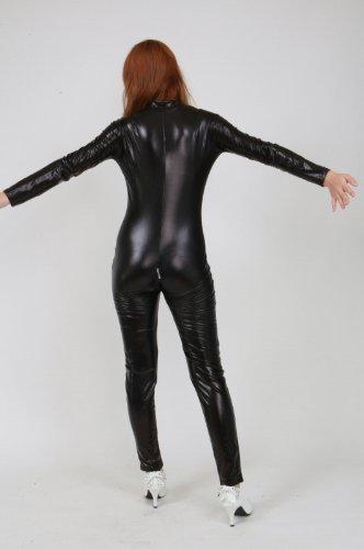 Shiny metallic catsuit black (AS19) women S size