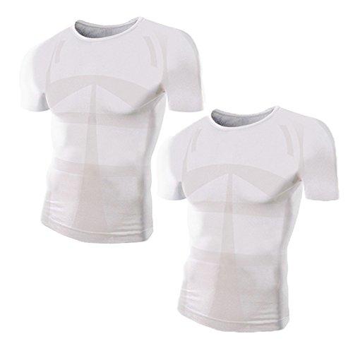 加圧シャツ モアプレッシャー メンズ 加圧インナー (Uネック/M-Lサイズ/白2枚セット)