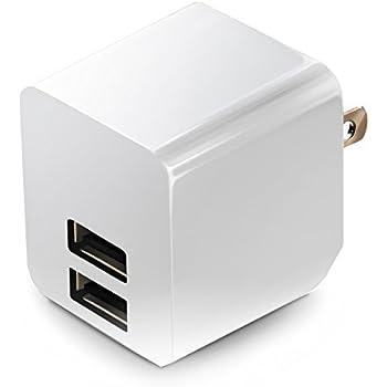 エレコム 充電器 ACアダプター 【iPhone&iPad&Android&IQOS対応】 折畳式プラグ USBポート×2 (2.4A出力) 10年使える長寿命設計 ホワイト MPA-ACUEN000AWH