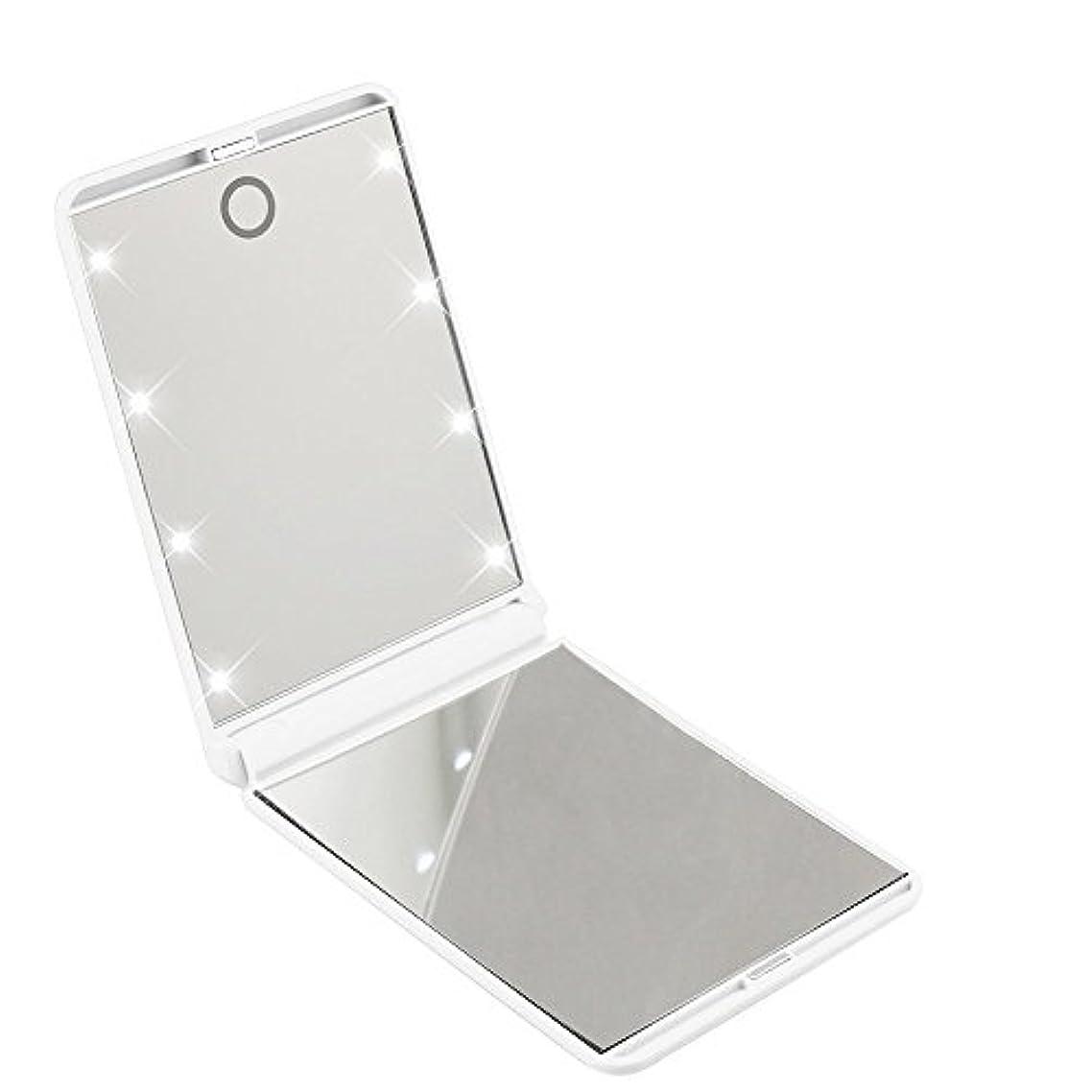 狭い答えケージled化粧鏡 二面鏡 折りたたみ式 LEDライト メイクミラー 明るさ調整 コンパクトミラー 2倍拡大鏡付 ホワイト