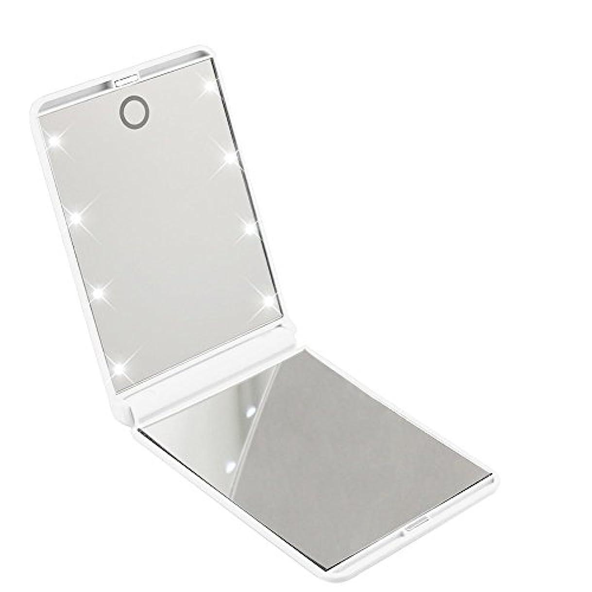 ステンレスのれんバンガローled化粧鏡 二面鏡 折りたたみ式 LEDライト メイクミラー 明るさ調整 コンパクトミラー 2倍拡大鏡付 ホワイト