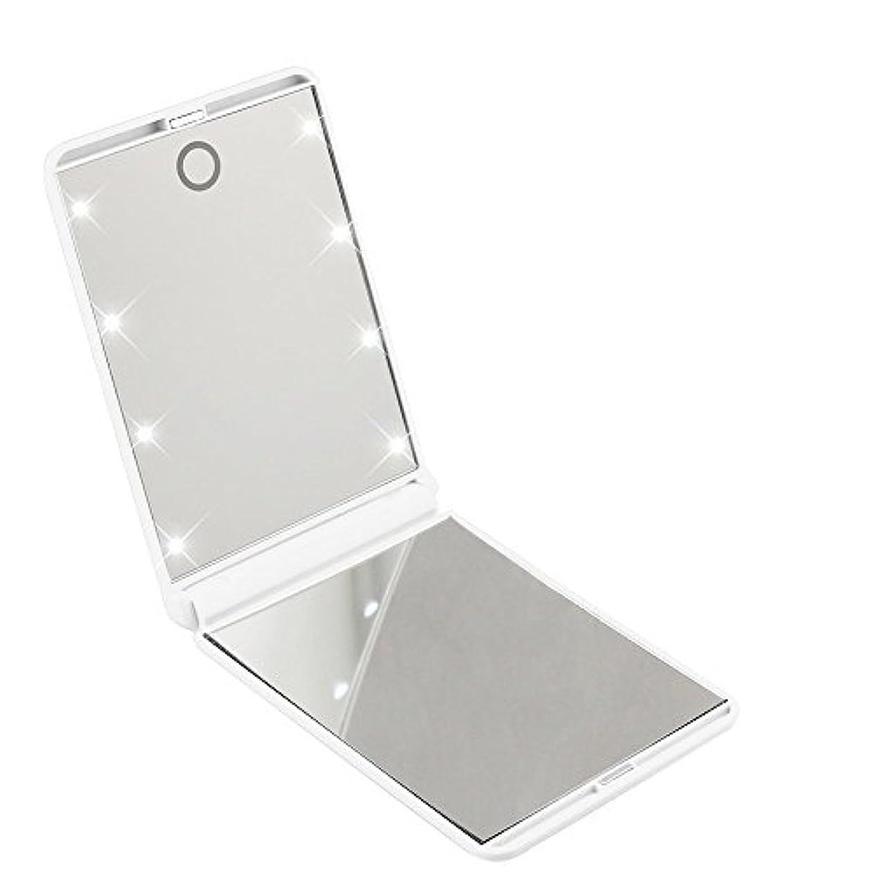 古代逆貨物led化粧鏡 二面鏡 折りたたみ式 LEDライト メイクミラー 明るさ調整 コンパクトミラー 2倍拡大鏡付 ホワイト