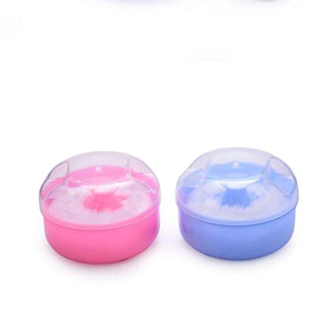 テキストファーザーファージュ黙認するFrcolor パウダーパフ ベビーパウダーケース パウダーボックス ふんわりパフ 容器付 ボディケア 2個セット(ピンク+ブルー)