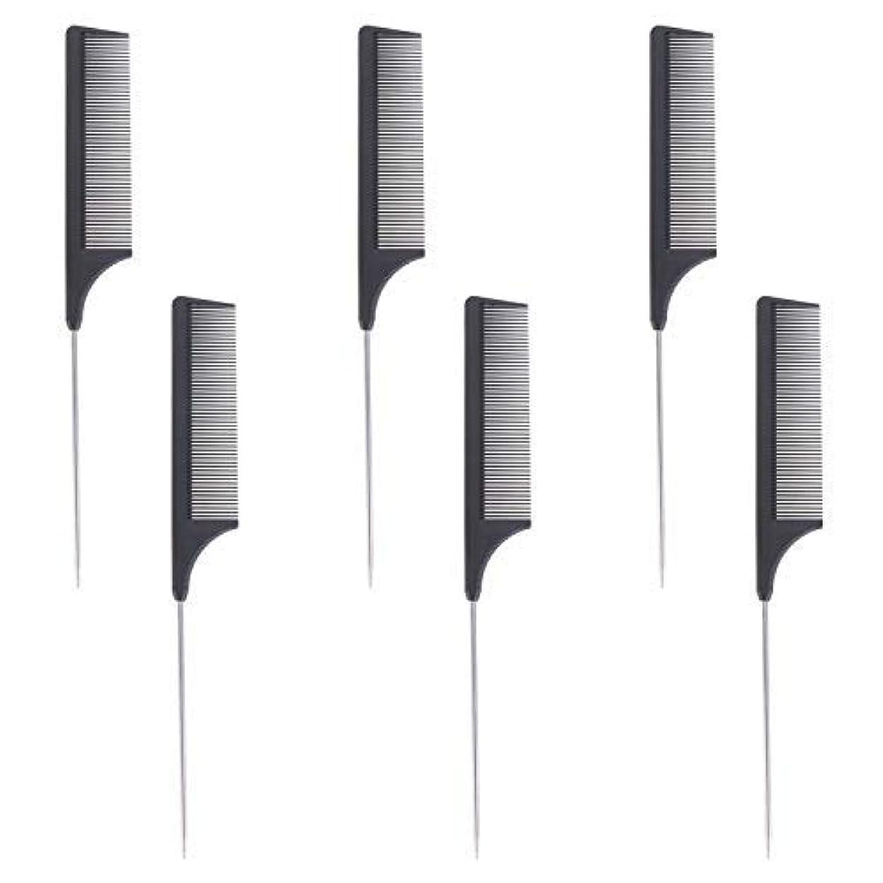 対立北米ランプ6 Pieces Comb Black Tail Styling Comb Chemical Heat Resistant Teasing Comb Carbon Fiber Hair Styling Combs for...