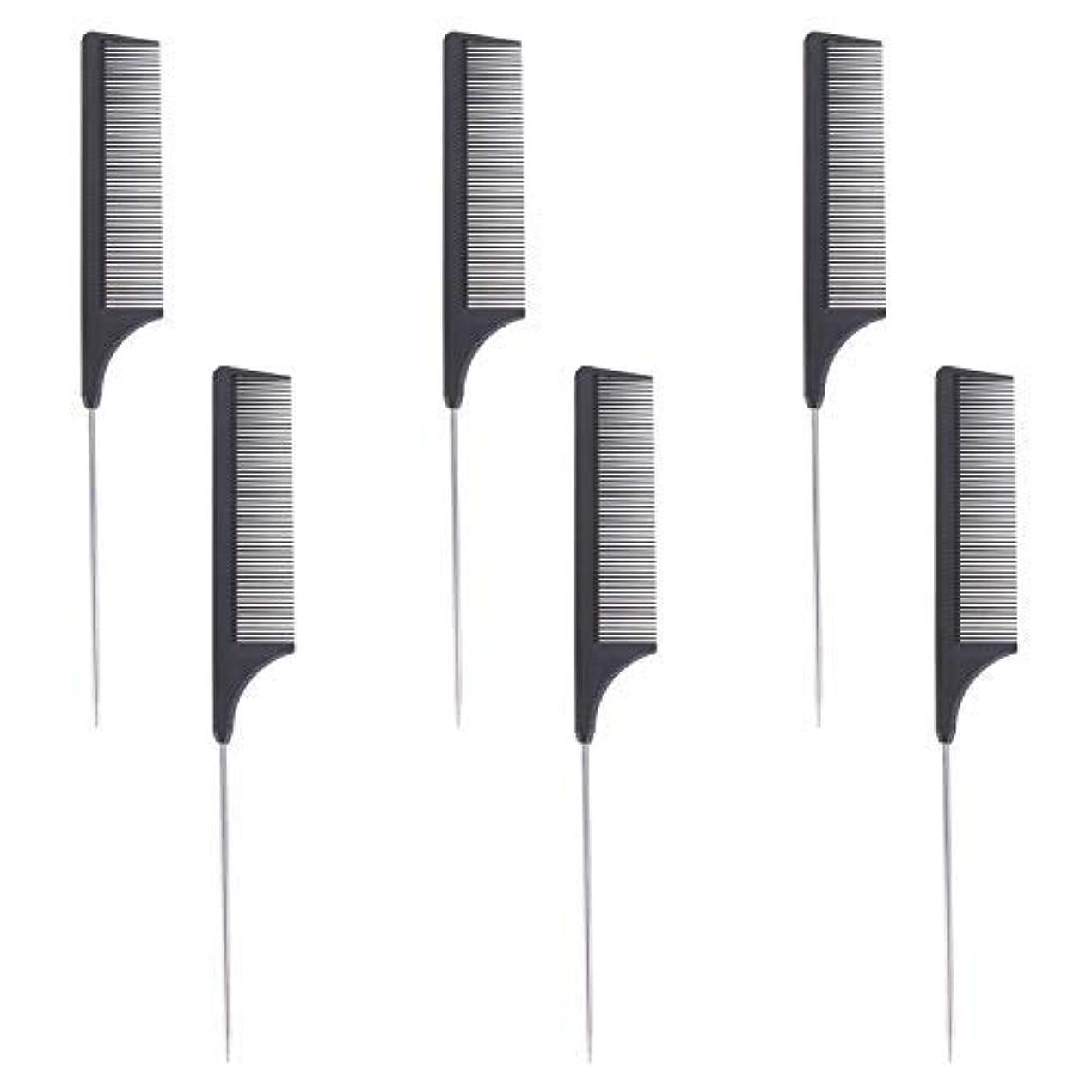 バナーセッション言い訳6 Pieces Comb Black Tail Styling Comb Chemical Heat Resistant Teasing Comb Carbon Fiber Hair Styling Combs for...