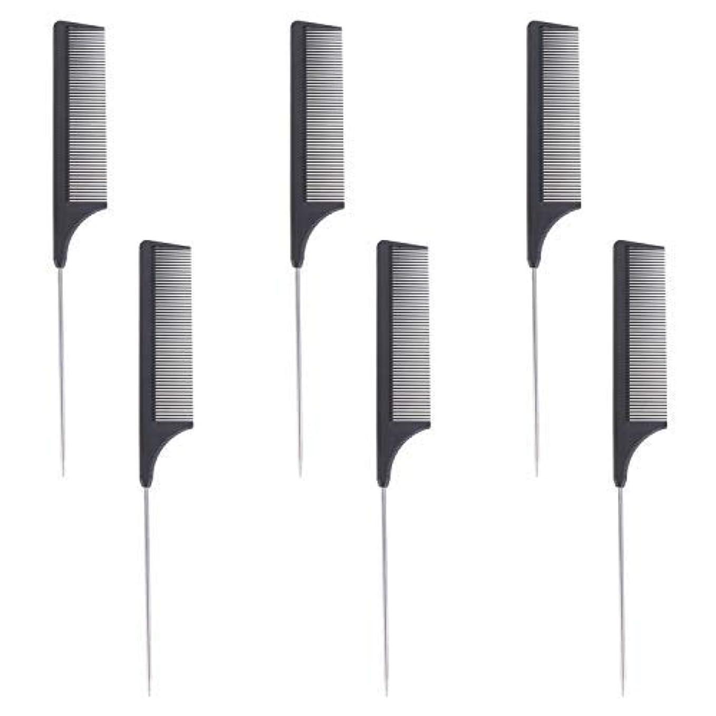 猛烈なランドマーク開いた6 Pieces Comb Black Tail Styling Comb Chemical Heat Resistant Teasing Comb Carbon Fiber Hair Styling Combs for...