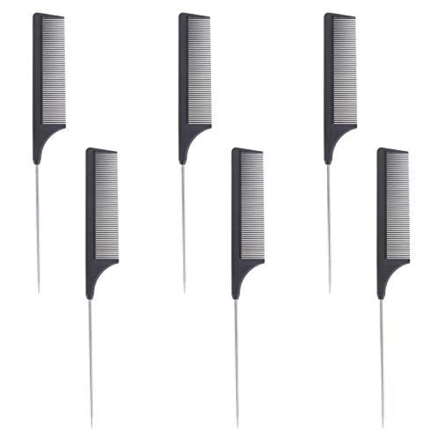 振りかけるシンジケート転倒6 Pieces Comb Black Tail Styling Comb Chemical Heat Resistant Teasing Comb Carbon Fiber Hair Styling Combs for...