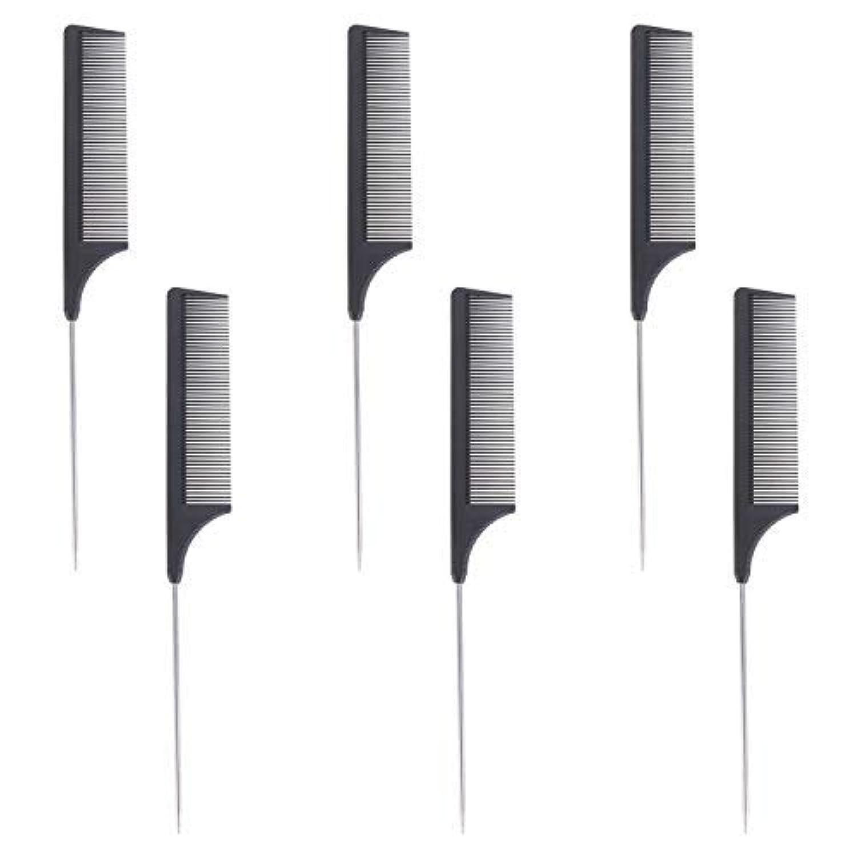 重なる自由心理的に6 Pieces Comb Black Tail Styling Comb Chemical Heat Resistant Teasing Comb Carbon Fiber Hair Styling Combs for...