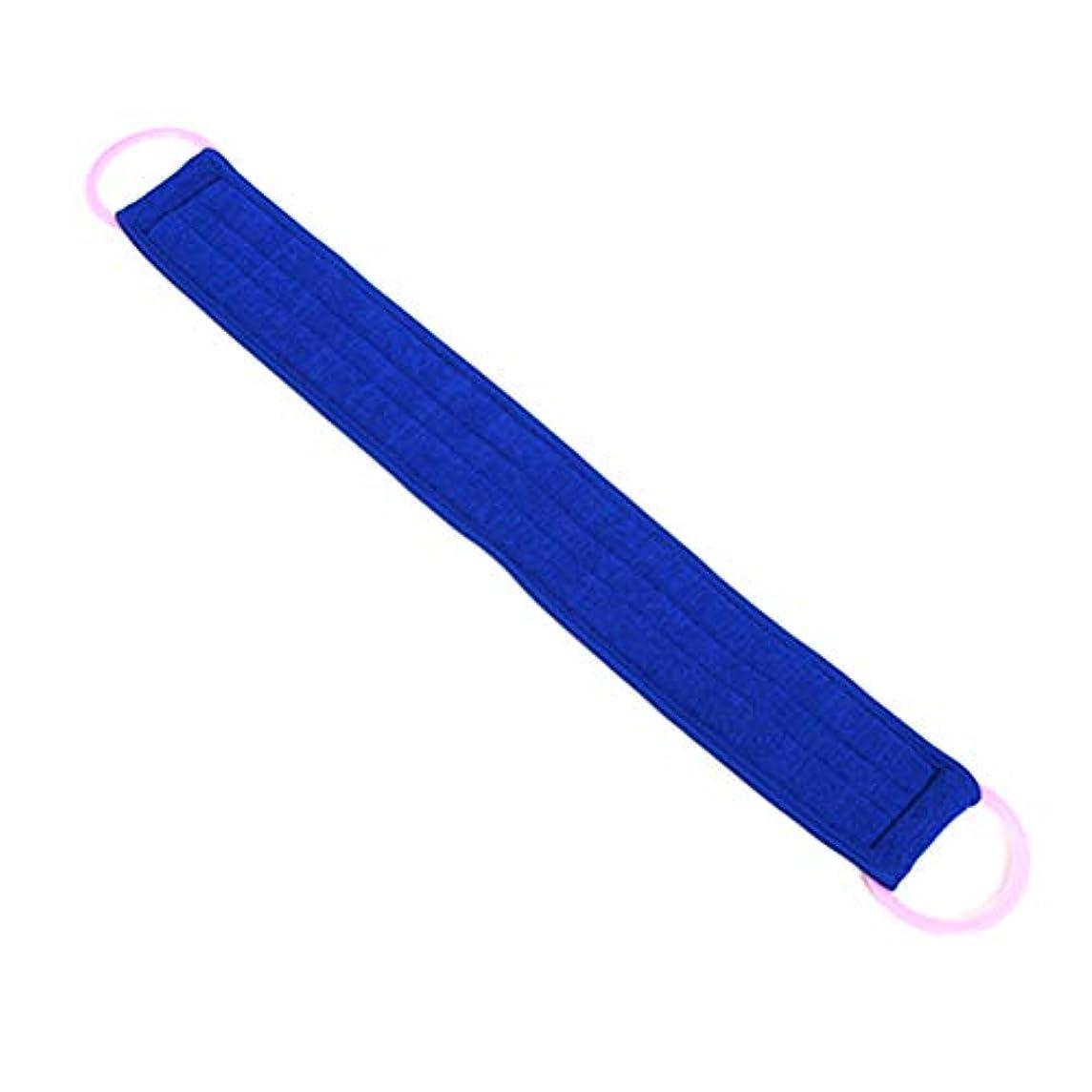 剪断毛細血管染色Lurrose バスラブブラシエクスフォリエイトプルバックストリップラブバックベルトチョッピングバンドバスタオル(ブルー)