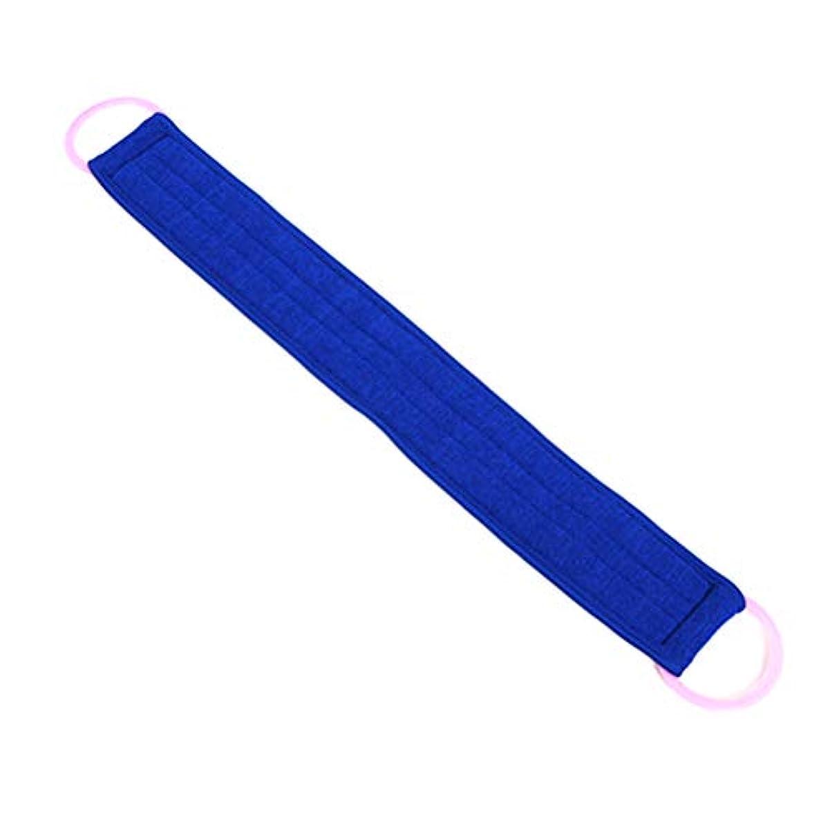 気づかないヒープ揮発性Lurrose バスラブブラシエクスフォリエイトプルバックストリップラブバックベルトチョッピングバンドバスタオル(ブルー)