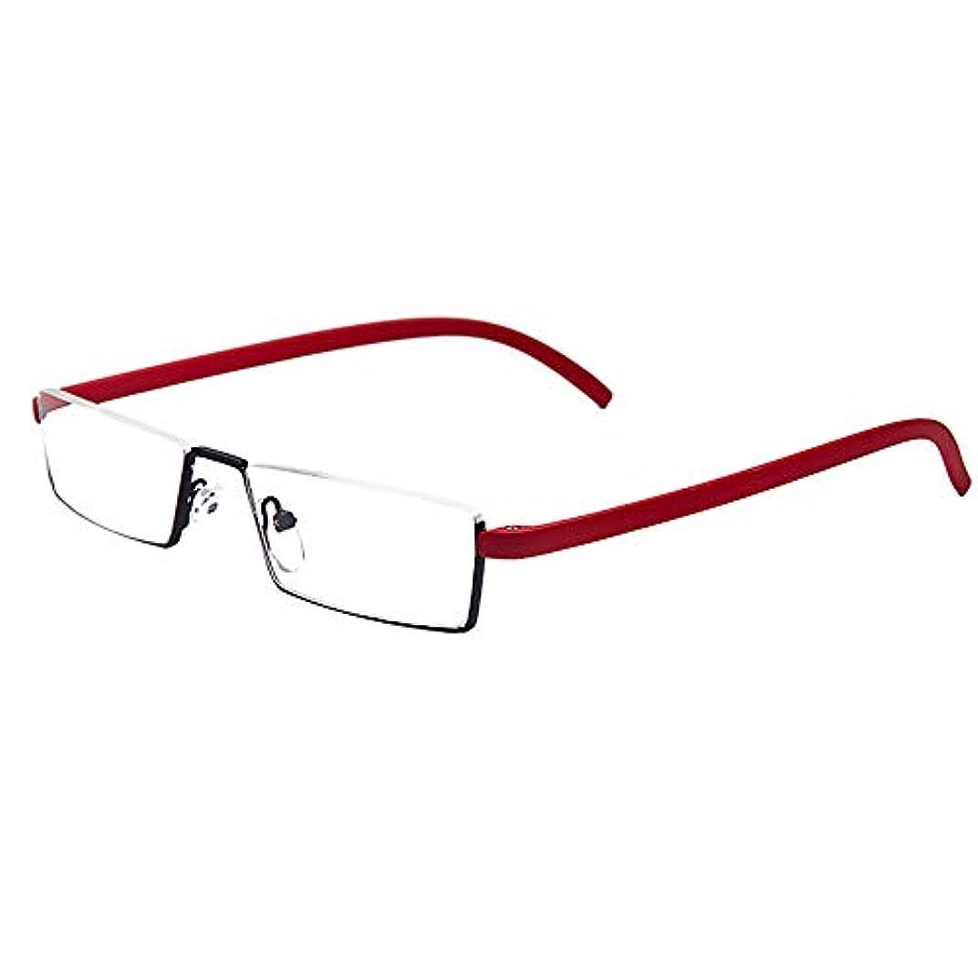男性用老眼鏡、Tr90超軽量レディースハーフフレーム老眼鏡、高精細透明レンズ、オフィス用ポータブルメガネの読み取りに適しています