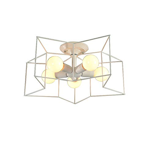 Jinyuze 金属製の星型ペンダントライト 現代的スタイル天井照明 おしゃれ照明器具 屋内インテリア 天井照明電器 シャンデリア 照明器具5灯 ブラックまたはホワイト セミフラッシュマウント安装 シーリングライト (ホワイト)