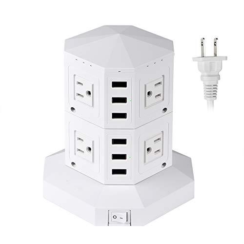 J & L 電源タップ コンセント 8個AC差込口 6個USBポート 2500W 急速充電可能 一括スイッチ付 雷ガード保護 過負荷保護 省エ ネ 12か月保証 (ホワイト)