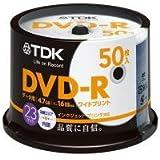 TDK データ用 DVD-R 4.7GB 1-16倍速対応 ホワイトワイドプリンタブル対応 50枚スピンドル DR47P…