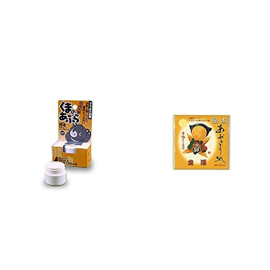 不規則性カスケードライド[2点セット] 信州木曽 くまのあぶら 熊油スキン&リップクリーム(9g)?さるぼぼ 風水あぶらとり紙【イエロー】