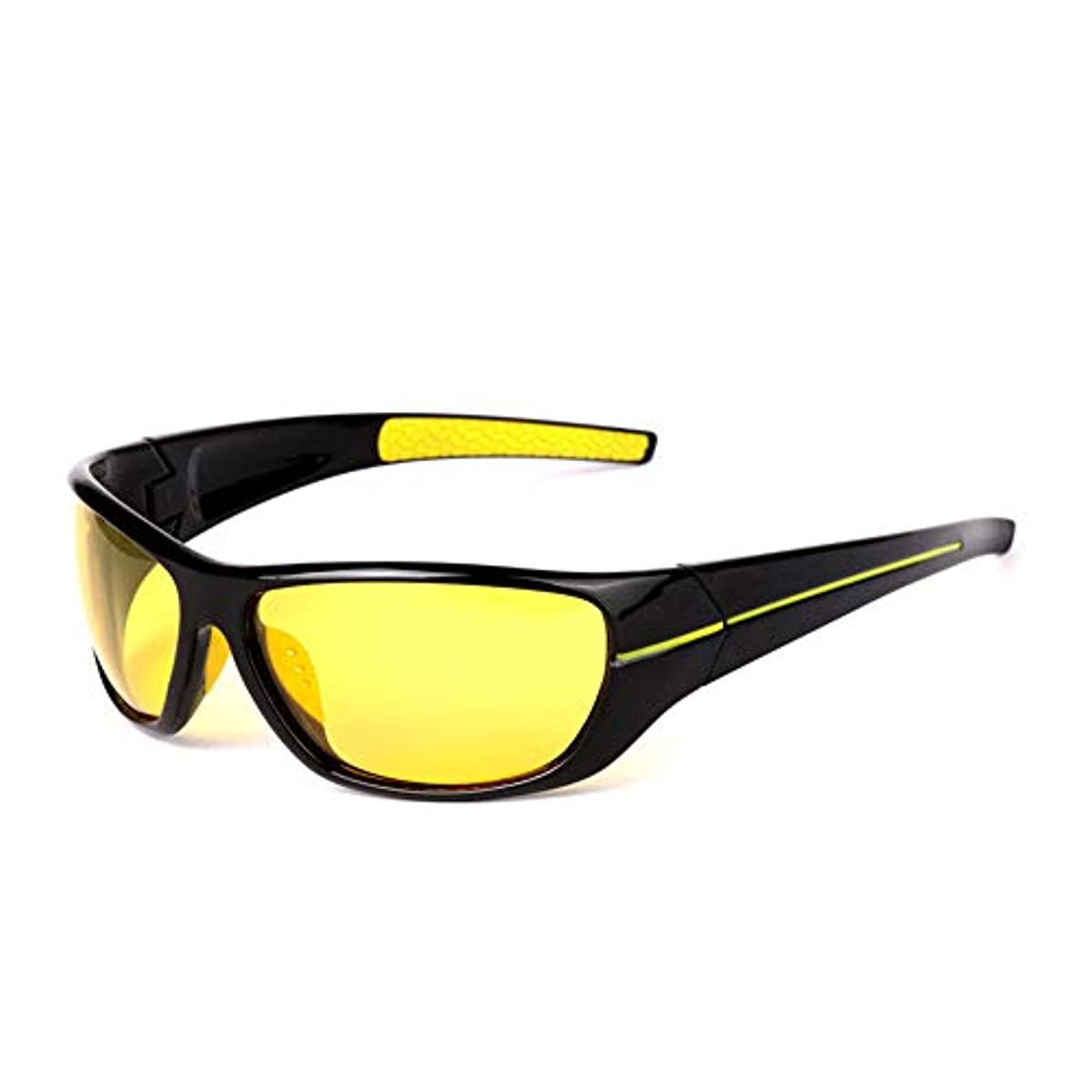 大きさ検出する考慮偏光スポーツサングラス交換レンズ サングラス偏光ナイトビジョンメガネ釣り偏光メガネハイグレードスポーツアウトドアサイクリング 自転車/山/運転/野球/自転車/釣り/ランニング/ゴルフなどの野外活動男女 (色 : 黄)