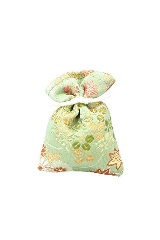 くま宴会関数香袋 金襴 青磁色