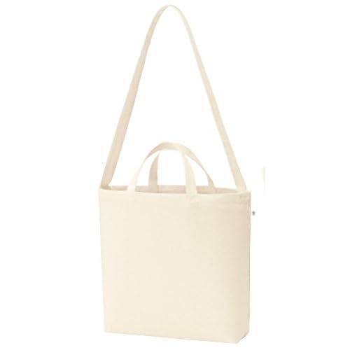 キャンバス2WAY ショルダーバッグ ナチュラル A3サイズ マチあり レディース メンズ 鞄 肩掛け エコバッグ マザーズバッグ シンプル 無地【2color】 (ナチュラル)